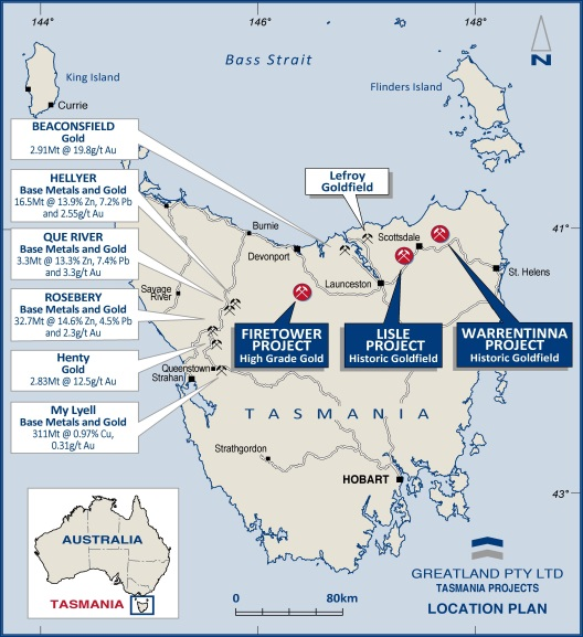 Tasmania locations map